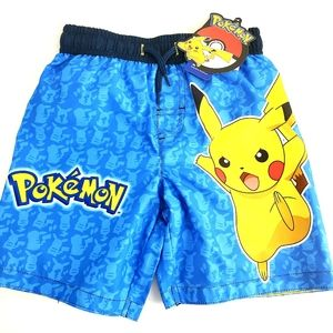 NWT Pokémon Blue & Yellow Swim Trunks, 4T